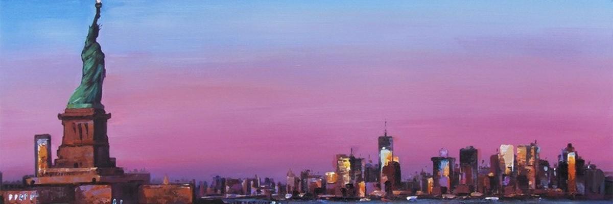 lilla og pink malerier
